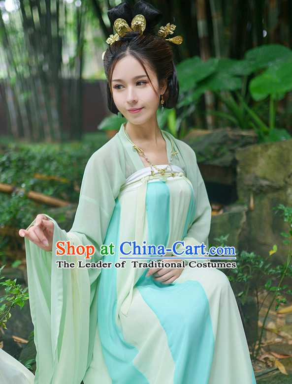Chinese Style Dresses Kimono Dress Tang Dynasty Outfit and Hair Accessories Complete Set for Women