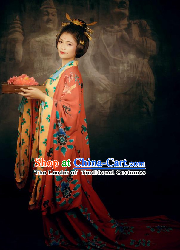 Ancient Chinese Style Dresses Tang Dynasty Clothing Clothes Han Chinese Costume Hanfu and Hair Jewelry Complete Set for Women Adults Children