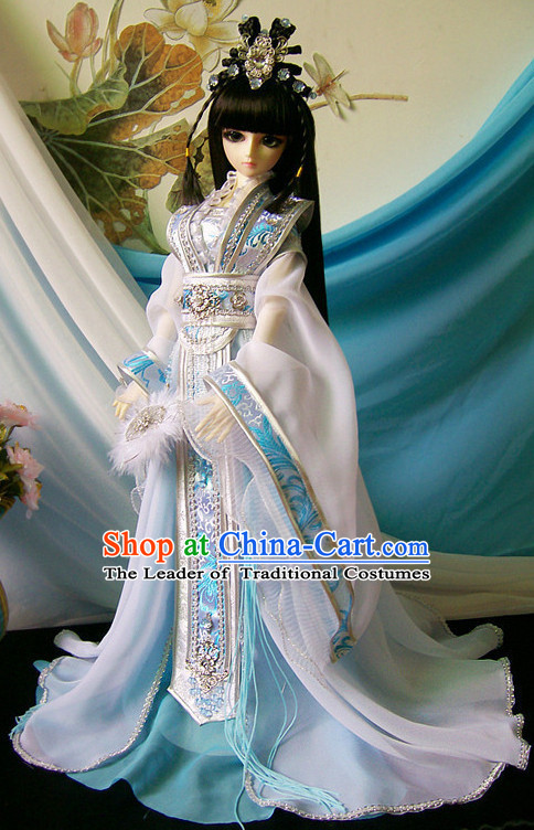 Ancient Chinese Princess Empress Queen Hanfu Costumes and Headwear Complete Set for Women Girls Adults Kids