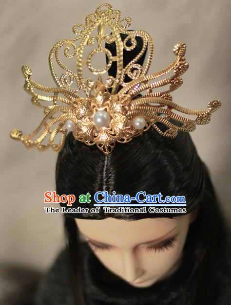 Ancient Chinese Prince Emperor Headwear Headpieces Hair Accessories Crown Coronet Set