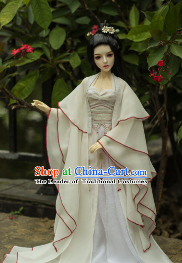 Ancient Chinese White Lady Hanfu Dress and Hair Jewelry Complete Set for Women