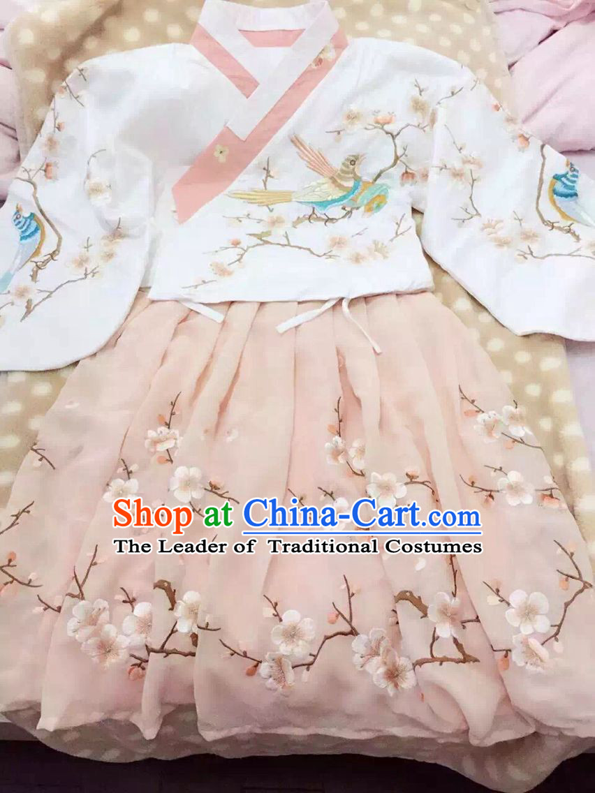 Chinese Ancient Ming Dynasty Hanfu Clothing Complete Set for Women Girls Adults Children