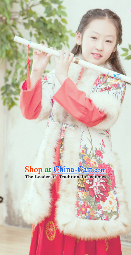 Chinese Ancient Winter Princess Clothing Complete Set for Women Girls Adults Children