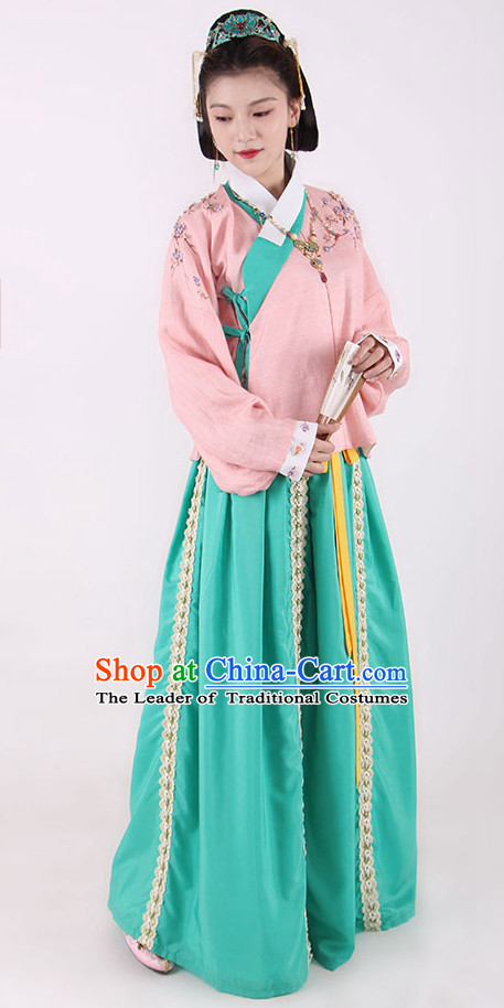 Chinese Style Dresses Kimono Dress Song Dynasty Empress Princess Queen Outfits and Headpieces Complete Set for Women