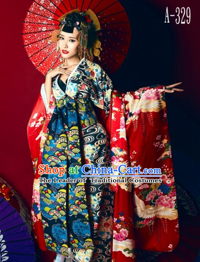 Japanese Traditional Geisha Kimono Dress Complete Set for Women Girls Children Adults