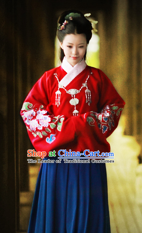 Chinese Traditional Ancient Ming Dynasty Outfits Clothing Garments and Hair Jewelry Complete Set for Women