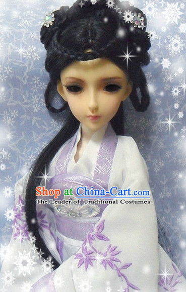 Ancient Chinese Style Princess Emperor Long Black Wigs and Accessories for Women Girls Adults Children