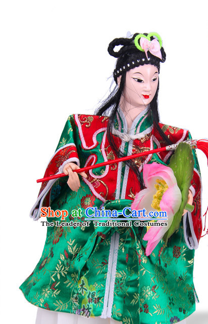 Traditional Chinese Handmade He Xiangu Immortal Glove Puppet String Puppet Hand Puppets Hand Marionette Puppet Arts
