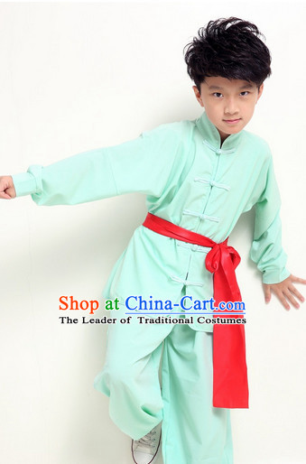 Chinese Traditional Kung Fu Costume Wing Chun Apparel Taiji Uniform for Kids Girls Boys