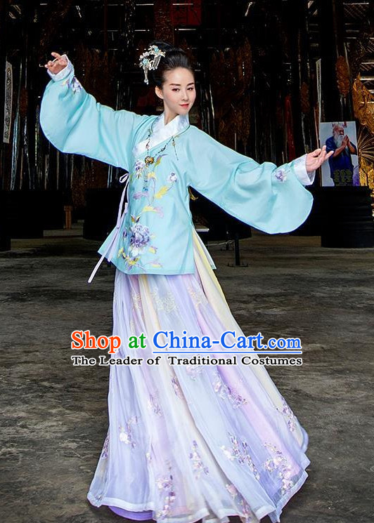 Ancient Chinese Ming Dynasty Clothing and Headpieces Complete Set for Women or Girls