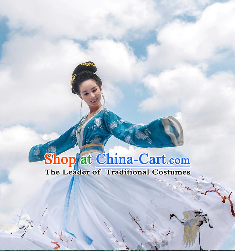 Ancient Chinese Han Dynasty Clothing and Headpieces Complete Set for Women or Girls