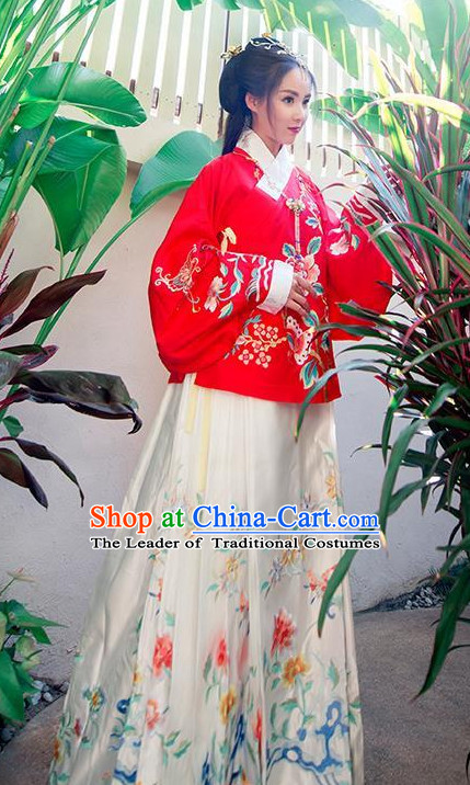 Ancient Chinese Ming Dynasty Princess Queen Empress Clothing and Headpieces Complete Set for Women or Girls