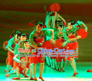 Professional Chinese Spring Festival Folk Dance Costumes for Women Adults Kids