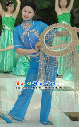 Professional Chinese Fisher Dance Costumes for Women Adults Kids