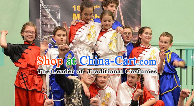 Top Embroidered Mandarin Tai Chi Taiji Martial Arts Competition Uniforms Dresses Suits Outfits for Kids Children Boys Girls