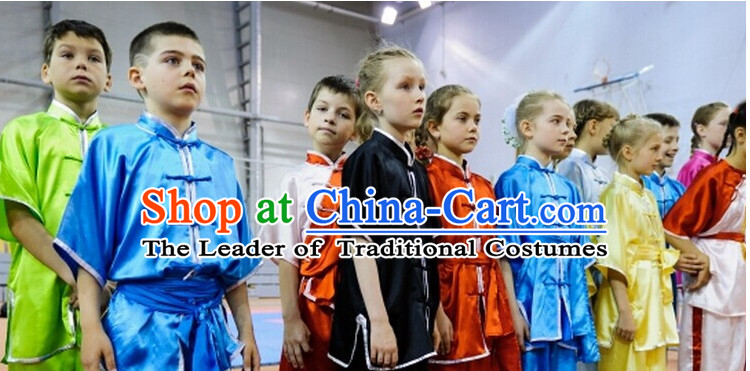 Top Mandarin Tai Chi Taiji Martial Arts Competition Uniforms Dresses Suits Outfits for Kids Children Boys Girls