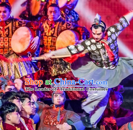 Chinese Folk Terra Cotta Warrior Dance Costumes for Men Adults Kids Children