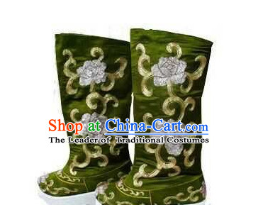 Ancient Chinese Film Handmade Embroidered Black Boots for Men Boys Adults Children