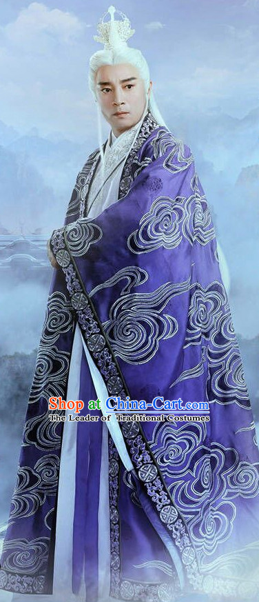 Ancient Chinese Taoist Clothing and Hair Jewelry Complete Set for Men