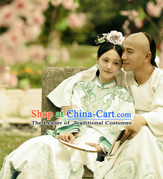 Qing Dynasty Manchu Imperial Royal Empress Robe Costumes and Hair Jewelry Complete Set for Women