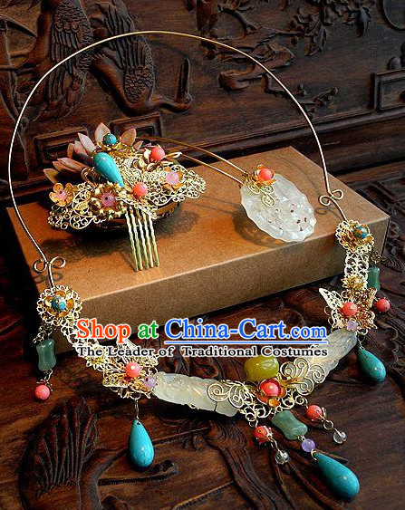 Handmade Ancient Chinese Imperial Royal Empress Princess Empress Necklace and Hair Accessory