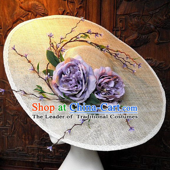 Top Handmade Flower Decoration Hat Dress Hat for Ladies