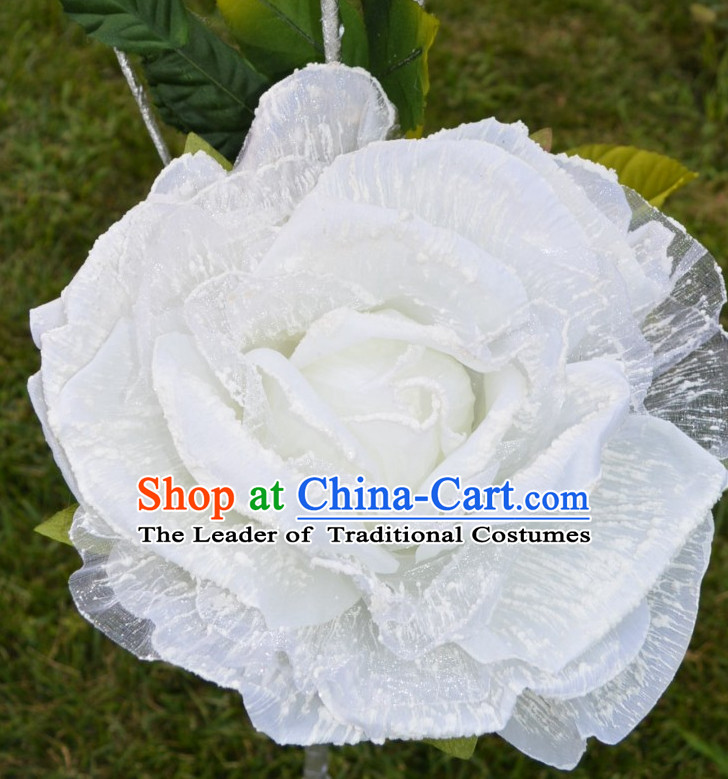 0.75 Meter Big White Rose Dance Props Props for Dance Dancing Props for Sale for Kids Dance Stage Props Dance Cane Props Umbrella Children Adults