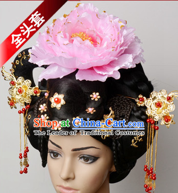 Tang Dynasty Asian Ancient Classical Empress Hairpins Hair Accessories and Wig Set