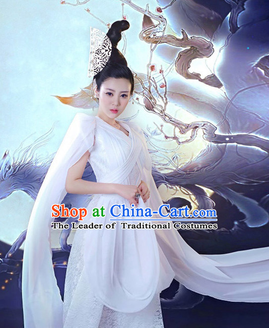 Chinese Ancient Fox Spirit Fairy Costumes and Hair Jewelry Complete Set for Women