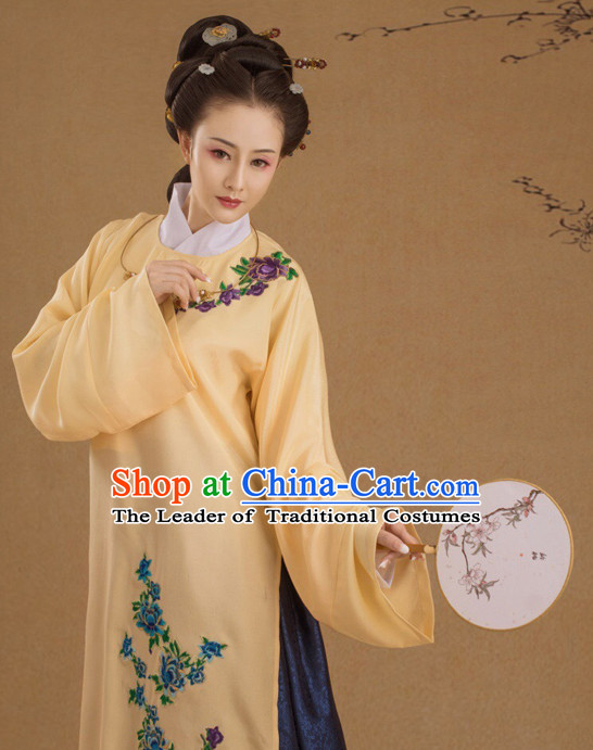 Chinese Ancient Ming Dynasty Lady Costumes and Hair Jewelry Complete Set for Women