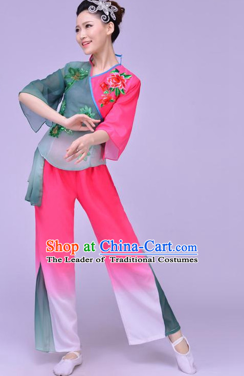 Chinese Folk Fan Dance Costume and Headdress Complete Set for Women