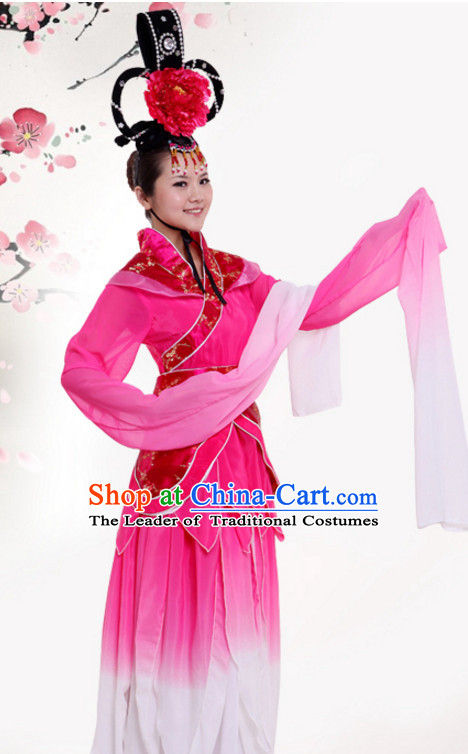 Chinese Long Water Sleeves Dance Costumes Dress online for Sale Complete Set for Women Girls Adults Youth Kids