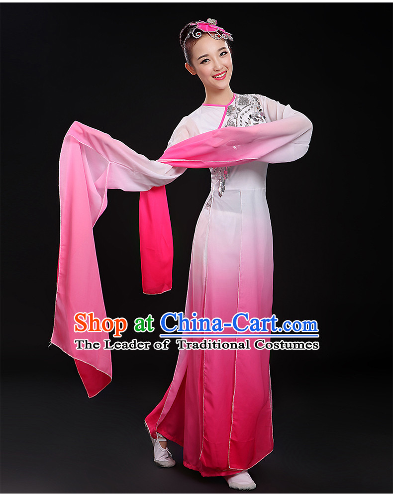 Color Transition Water Sleeve Classical Dancing Costume and Headdress Complete Set for Women or Girls