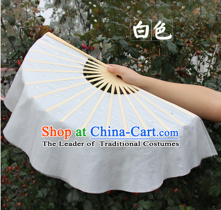 White Traditional Chinese Pure Silk Dance Fan