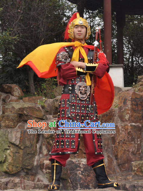 Ancient Chinese General Knight Costumes and Hat Complete Set for Men
