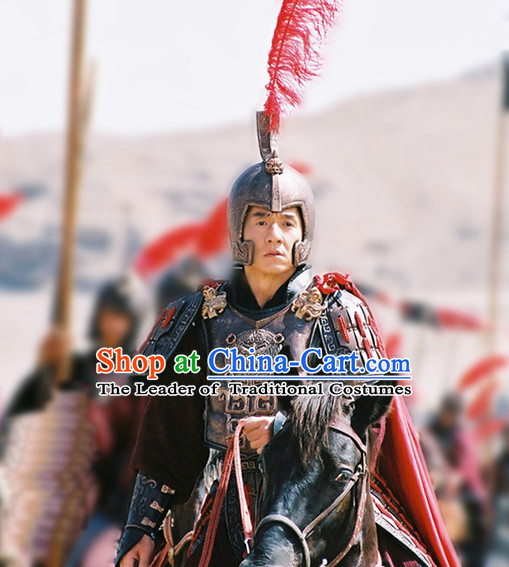 Ancient Chinese Warrior Solider General Armor Costumes and Hat Complete Set for Men