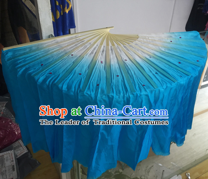 Professional Traditional Chinese Beijing Dance Academy Color Transition Two Sides Pure Silk Dance Fan