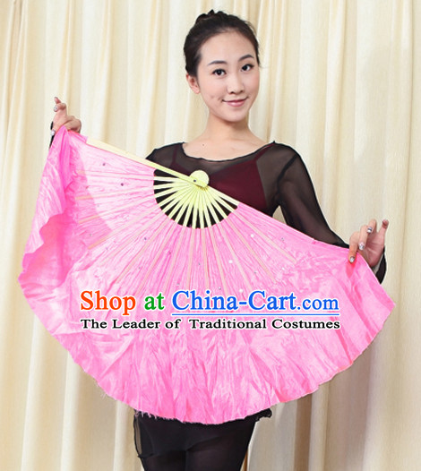 Traditional Chinese Pink Pure Silk Dance Fan with Sequins