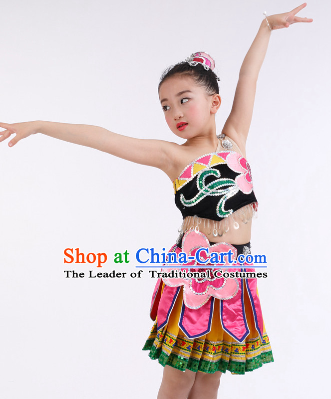 Chinese Competition Ballroom Dance Costumes Kids Dance Costumes Folk Dances Ethnic Dance Fan Dance Dancing Dancewear for Children