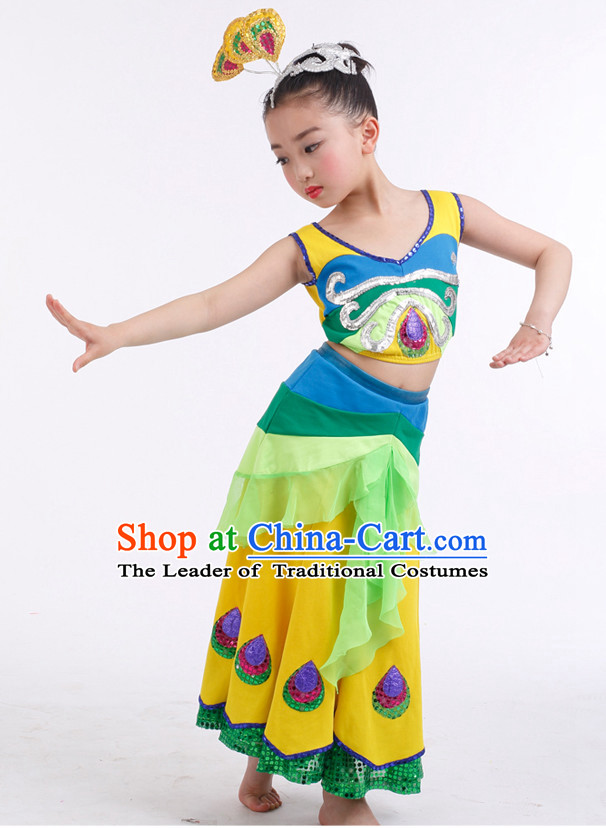 Chinese Competition Peacock Dance Costumes Kids Dance Costumes Folk Dances Ethnic Dance Fan Dance Dancing Dancewear for Children
