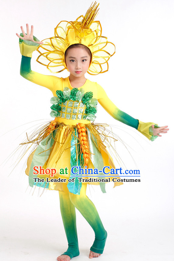 Chinese Competition Stage Dance Costumes Kids Dance Costumes Folk Dances Ethnic Dance Fan Dance Dancing Dancewear for Children