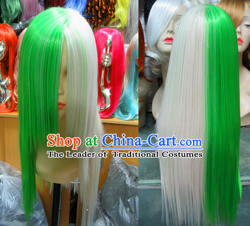 White Green Chinese Traditional Scholar Swordsmen Wig Ancient Knight Men Wigs Ladies Wigs Male Lace Front Wigs Custom Hair Pieces