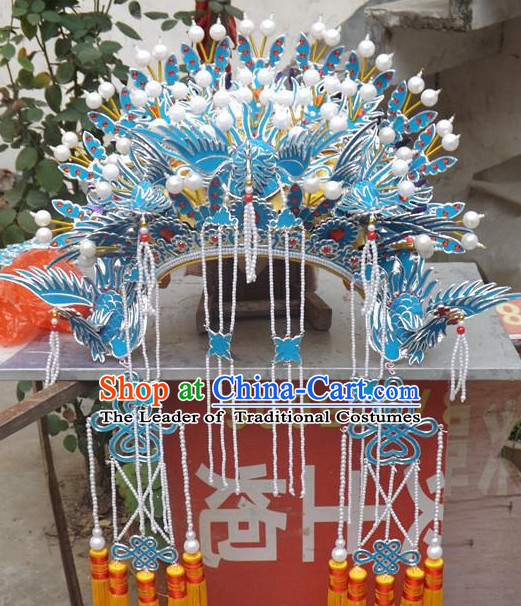 Top Chinese Headdress Opera Stage Performance Phoenix Crown Hat for Adults Kids Children Women Girls