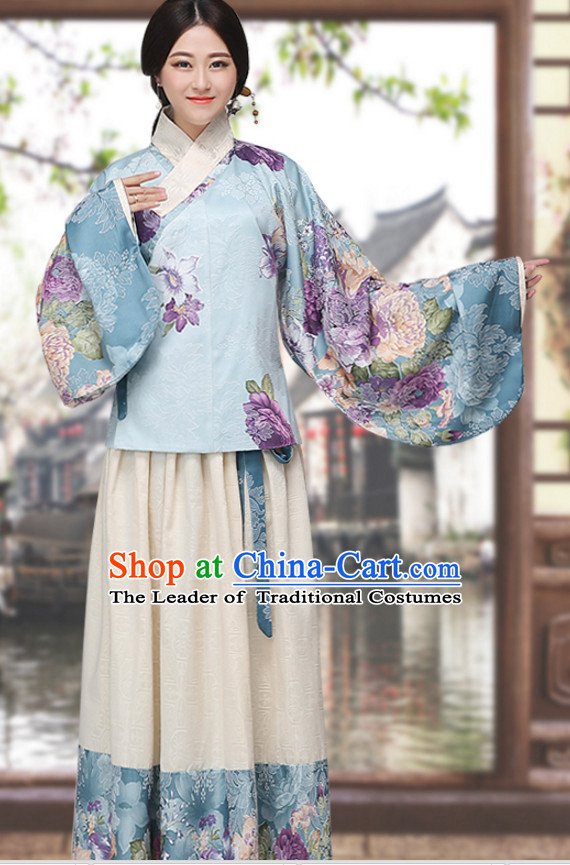 Asian Chinese Ming Dynasty Long Dresses Hanfu Costume Clothing Chinese Robe Chinese Kimono for Women