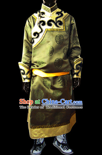 Chinese Mongolian People Genghis Khan Yuan Dynasty Mongolians Dance Costumes Emperor Prince Clothing Dress Garment Complete Set for Men Boys