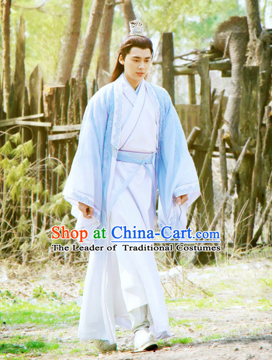 Ancient Chinese Scholar Teacher Clothing and Headwear Complete Set for Men or Boys