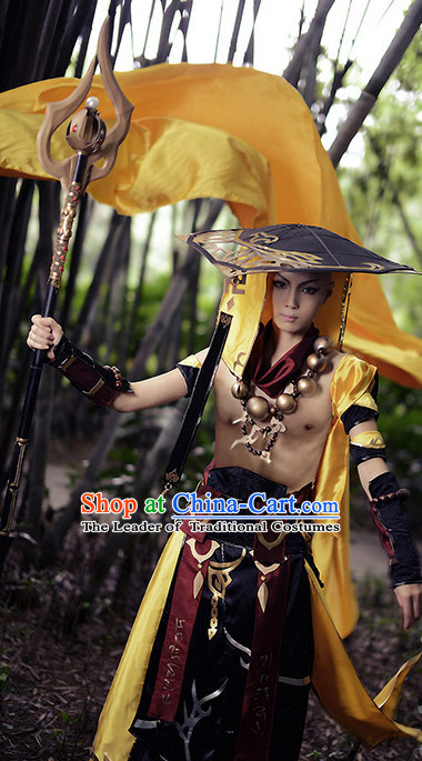 Chinese Superhero Monk Cosplay Costumes Accessories and Hat Complete Set for Adults