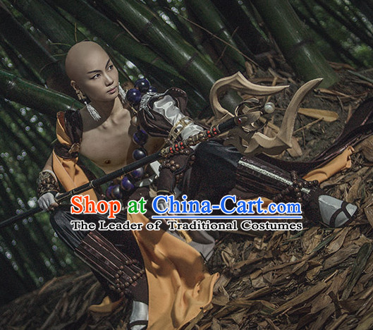 Chinese Monk Cosplay Costumes and Hat Complete Set for Men