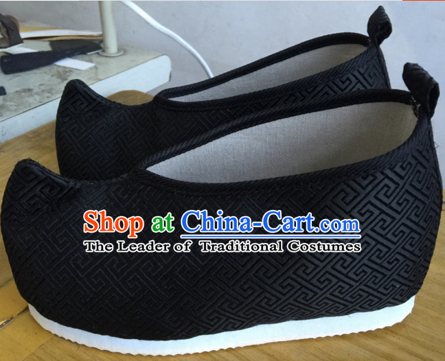 Black Chinese Ancient Handmade Traditional Bow Fabric Shoes