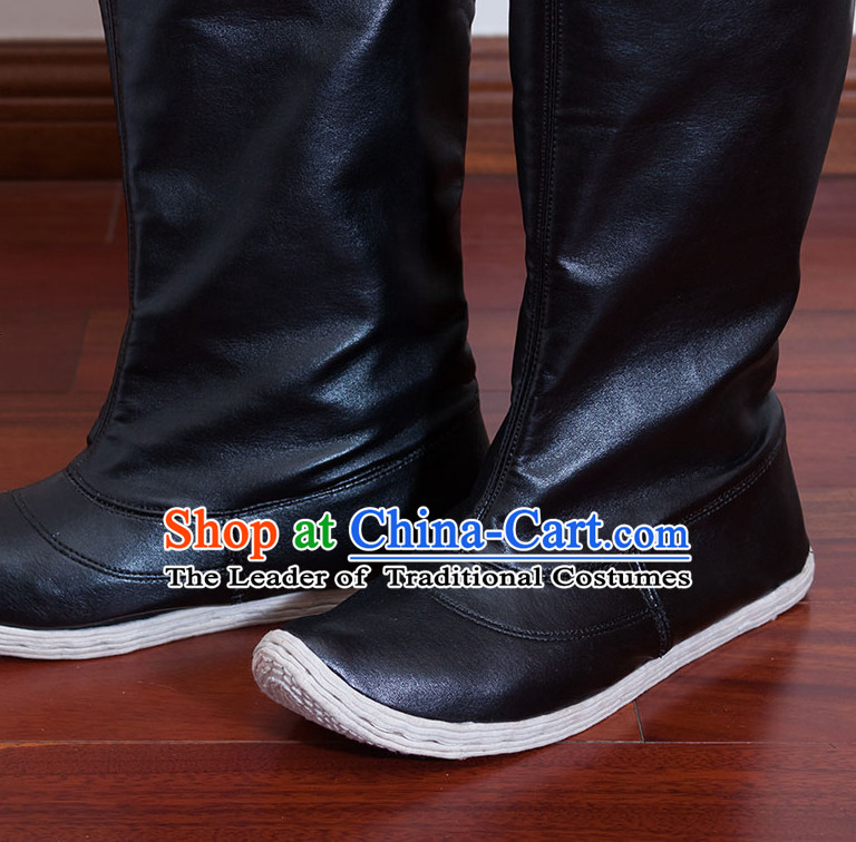 Ancient Chinese Handmade Feather Long Black Boots for Men